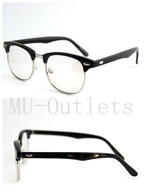 New Classic Clear Lens Clubmaster Wayfarer Metal Half Frame Sunglasses (Black)