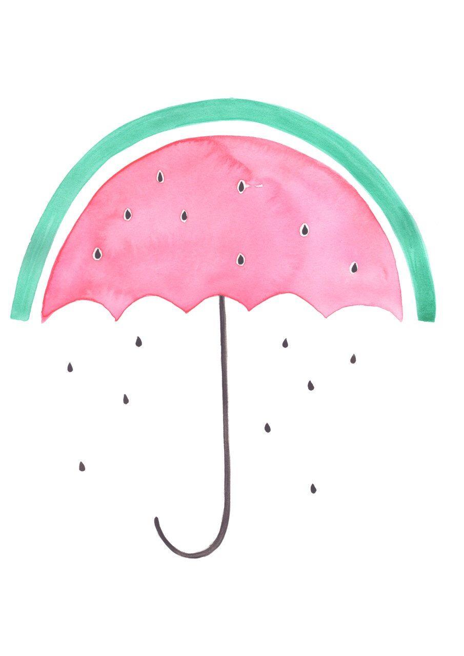 Ein zimmer für kinder wassermelone umbrella  druckt originalaquarell  obst druckt  a