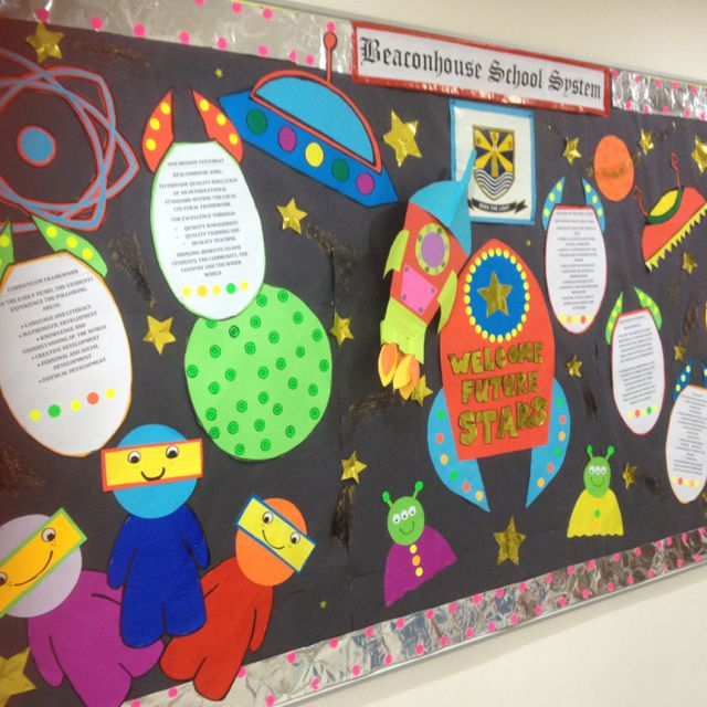 Outer space theme bulletin board love the simplicity of the astronaut much more doable - Outer space classroom decorations ...