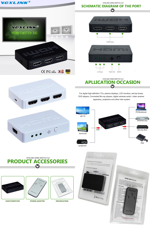 Visit To Buy 3x1 Mini Hdmi Splitter 3 Port Hub Box Auto Switch In Full Hd 1080p With Remote Control