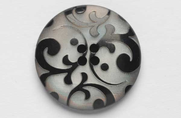 Black and white buttons, Resin button with flourishes, haberdashery and trimmings from Bedecked for fashion, craft and home decoration
