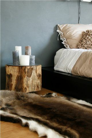 A soft wash of blue, Fur throw and natural touches