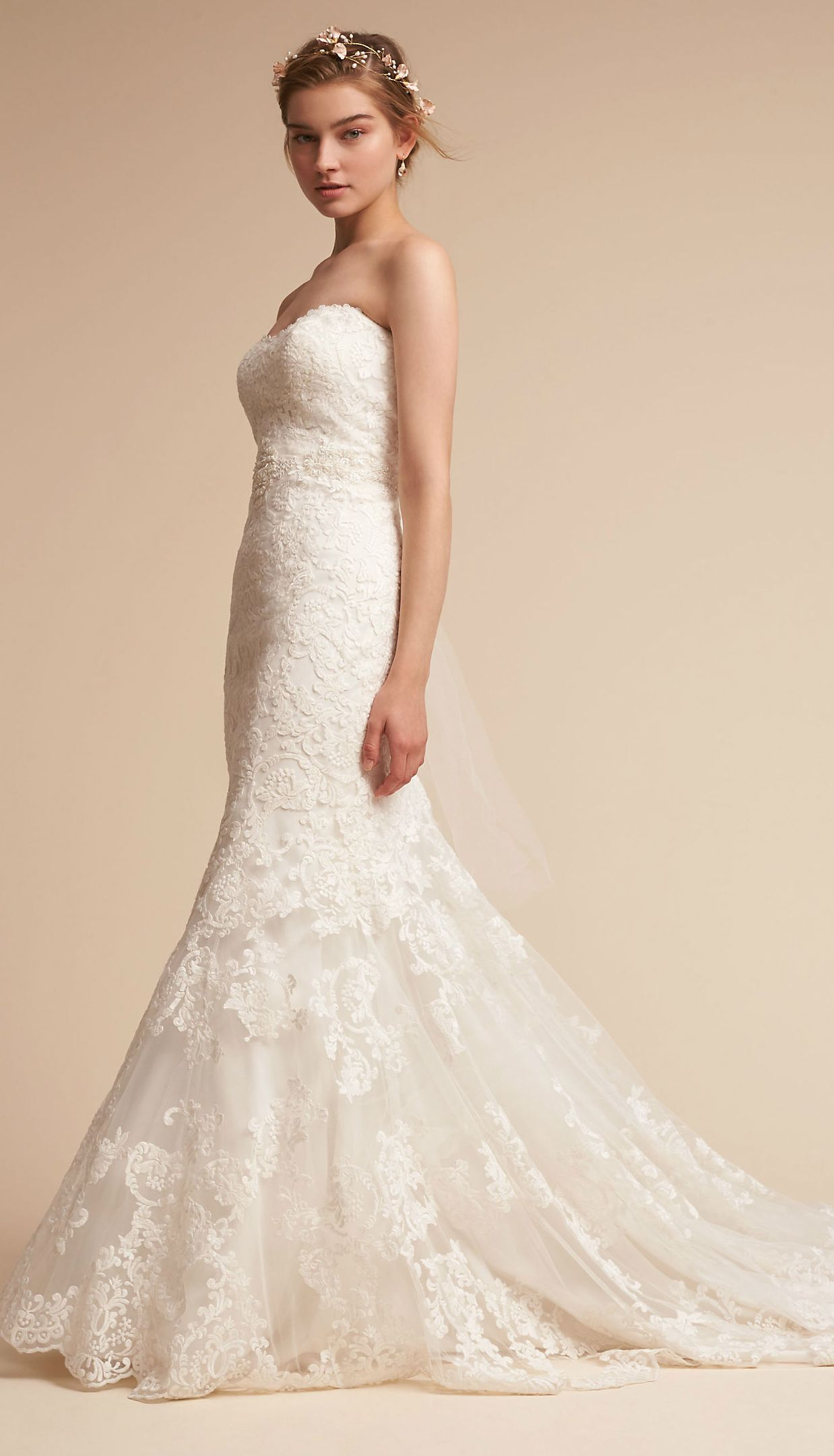 Fitted Strapless Lace Wedding Dress with Long Train