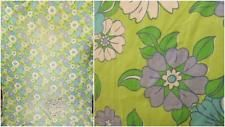 Vintage 70's Large Green Purple Floral Fabric Material Piece Retro Groovy