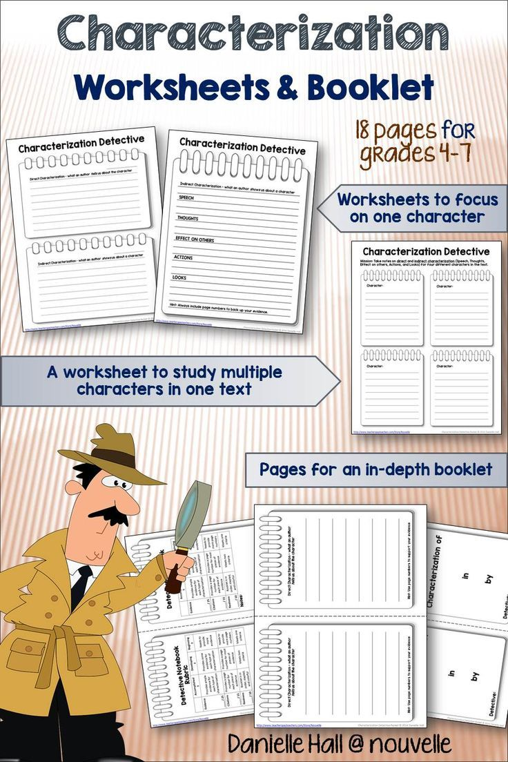 worksheet Characterization Worksheets characterization detective worksheets and booklet students are hot on the trail for examples of direct indirect with this packet you can use three basic w