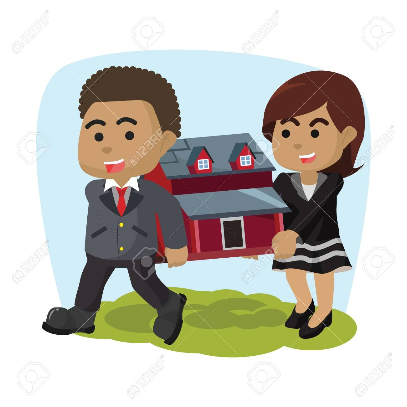 African businessman and woman carrying miniature housea