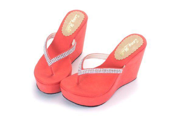 Amazon.com: Womens High Heel Wedge Slippers Flip-Flops: Shoes