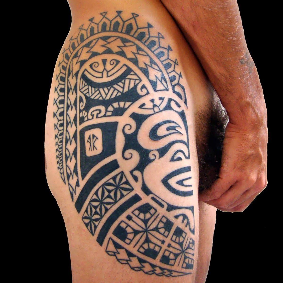 upper leg tattoo designs for men upper hand name style