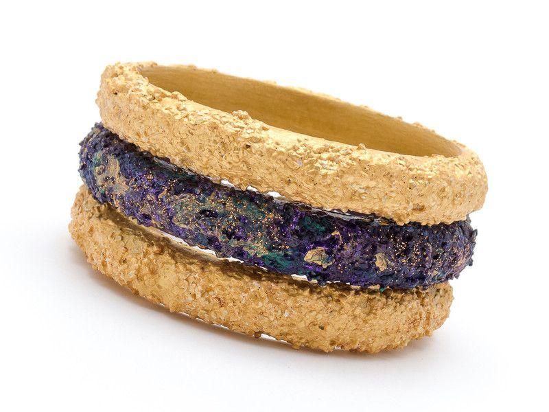Bracelets – Set of 3 wooden bracelets Gold – a unique product by AB-art-studio on DaWanda