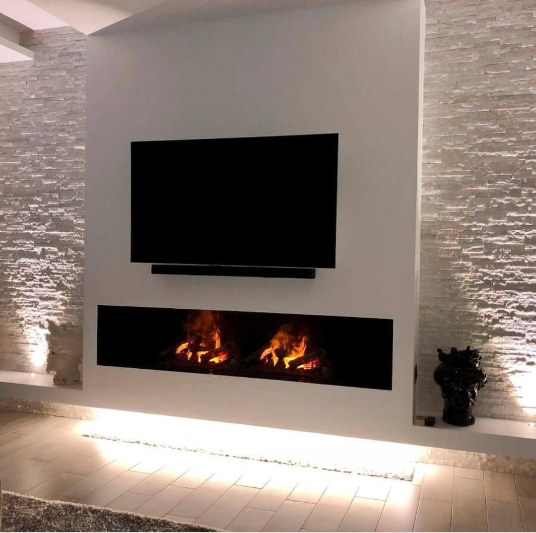 Chimena Tablaroca Y Piedra In 2020 Living Room Decor Fireplace Fireplace Modern Design Living Room Decor Modern