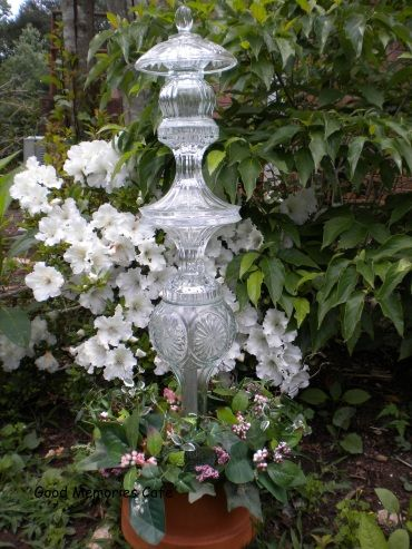 garden totems-what a great way to use old glassware!
