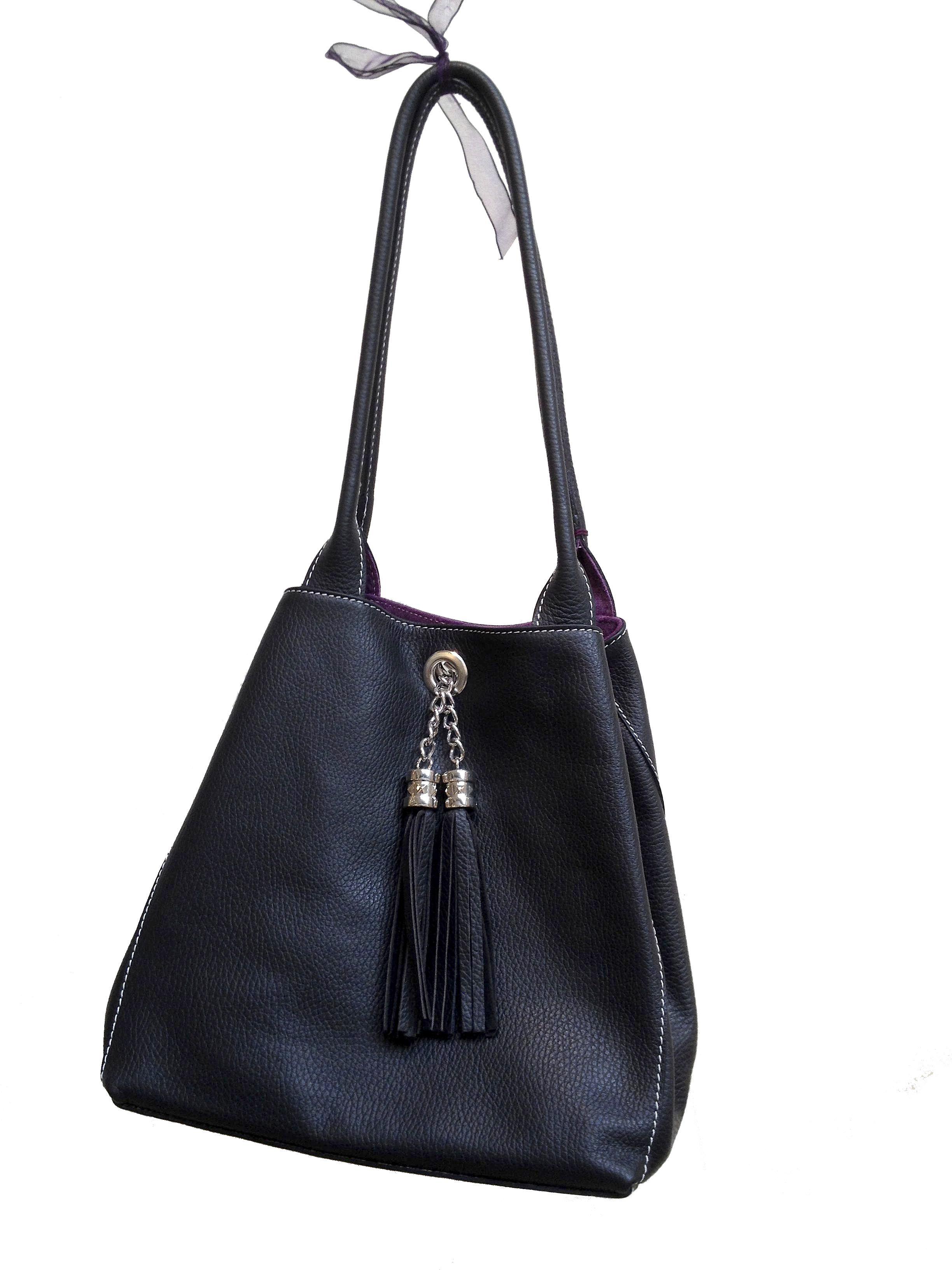 Black Lyn Reversible Italian Leather Handbag