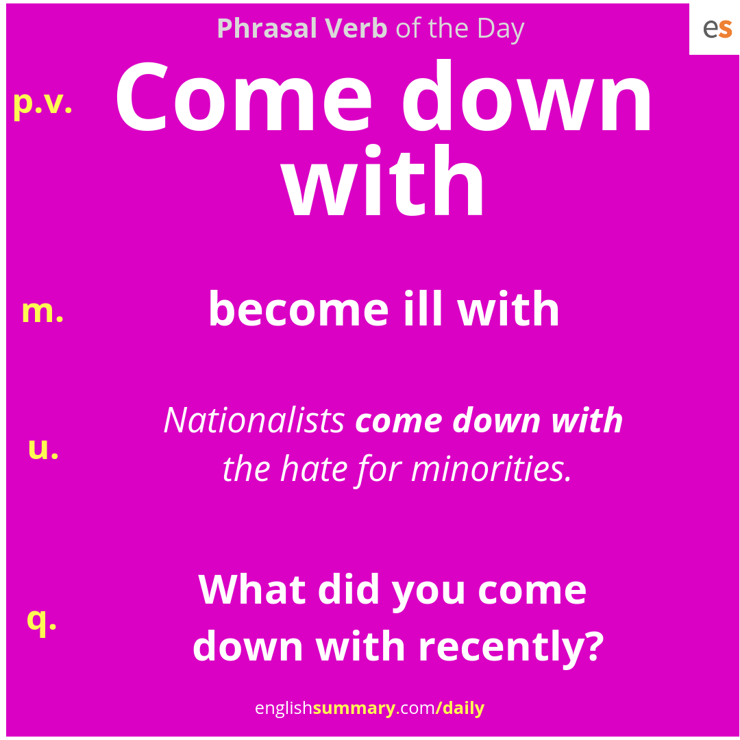 Come Down With Meaning in English | 100 Most Common Phrasal