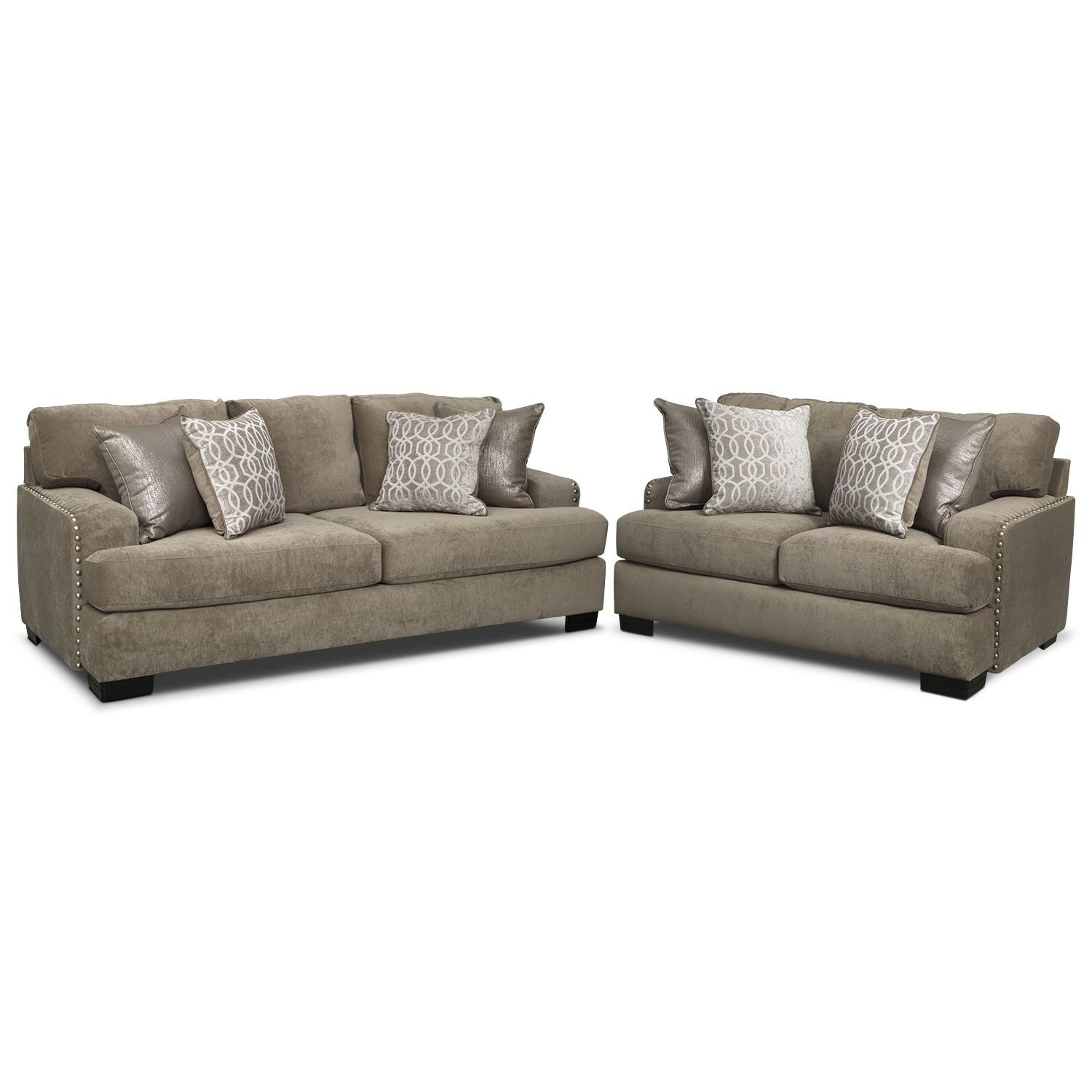Tempo Sofa And Loveseat Set Platinum