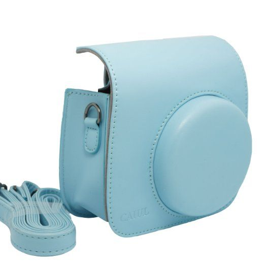 Amazon Com Nodartisan Light Blue Pu Leather Fuji Fujifilm Instax