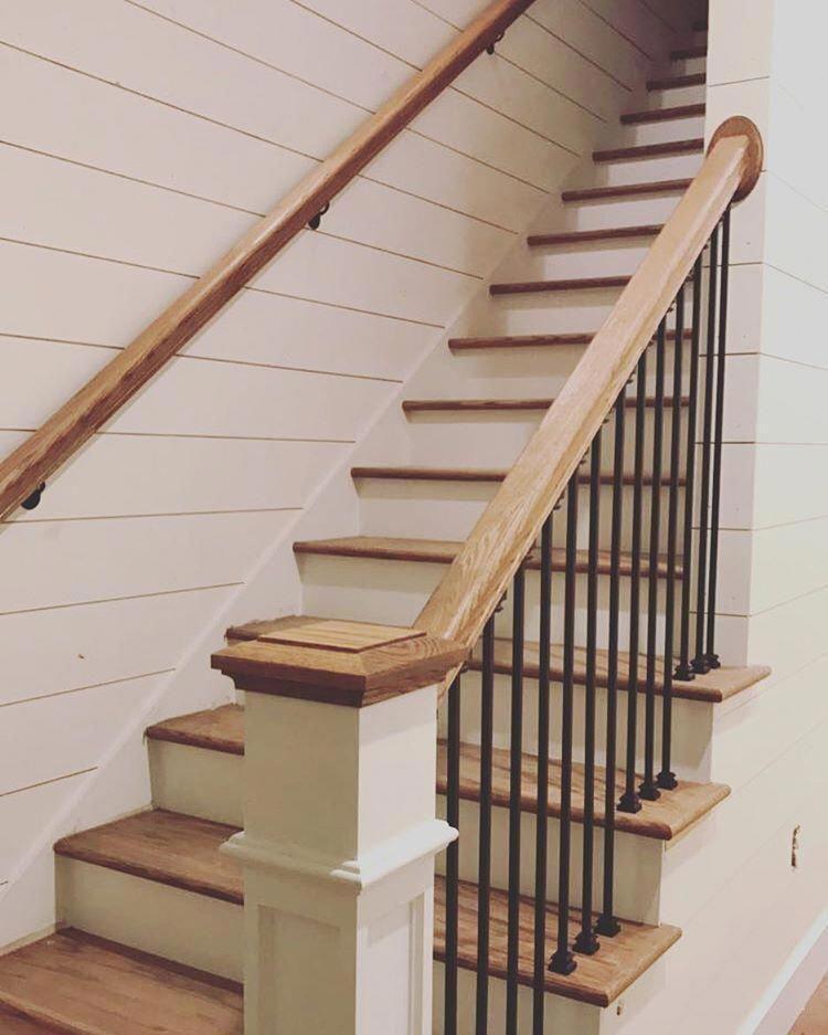 Stair railing love! #farmhouse #fourgables #newbuild #foreverhome #banisterremodel
