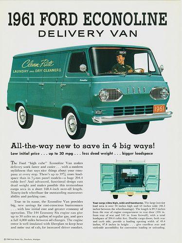 1961 Ford Econoline Delivery Van Ford Trucks Vintage Trucks Ford