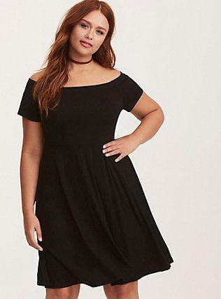 912beb8b956 Black Jersey Off Shoulder Skater Dress