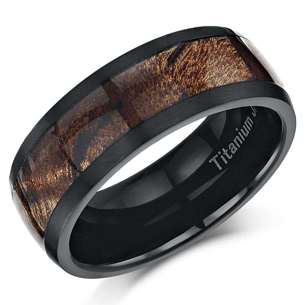 Black Titanium Wedding Ring Band With Koa Wood Inlay 8mm