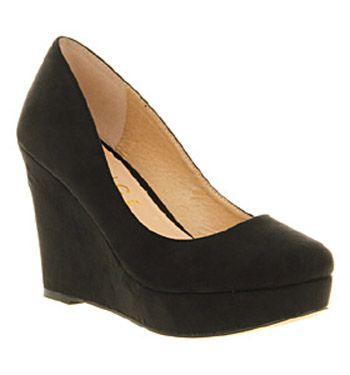 office wavelength wedge black microfibre shoes  womens