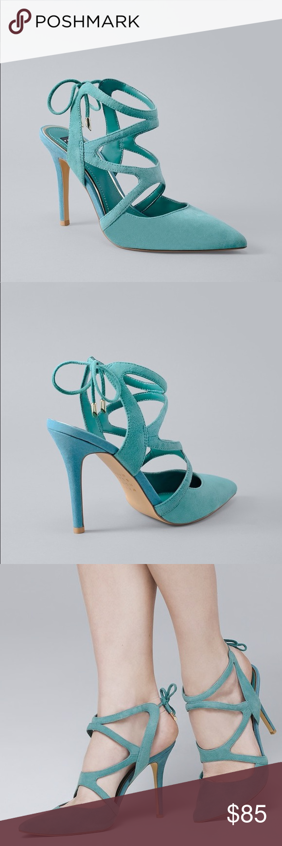 cf467088d469 MARLOW SUEDE STRAPPY HEELS Marlow strappy heels in mineral green Breathable  lining  memory foam footbed Approx. 3 3 4