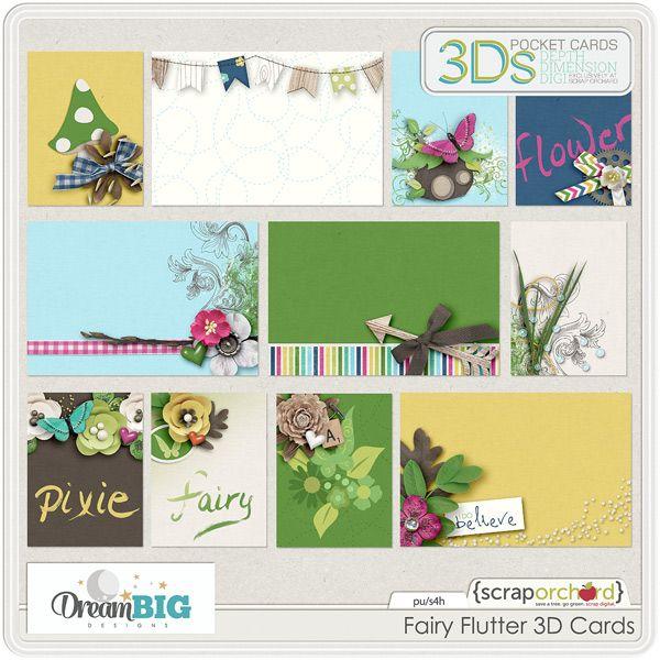 Digital Scrapbook - Fairy Flutter 3D Cards l Dream Big Design