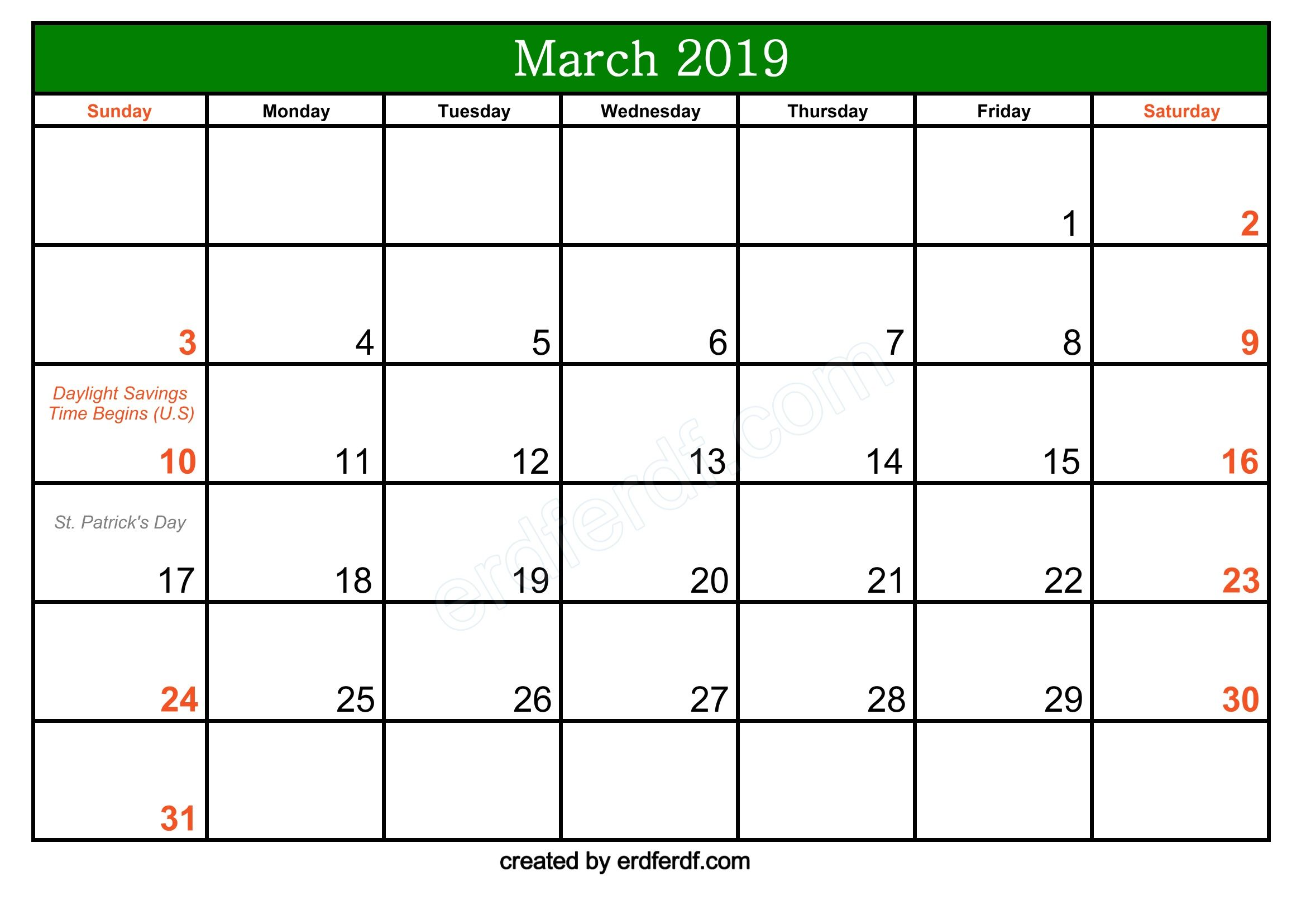 Free March 2019 Printable Calendar With Holidays Calendar Template