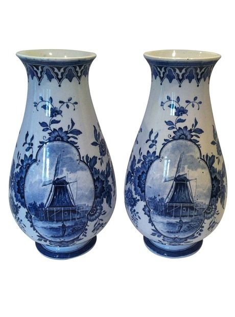 Pair Of Blue White Villeroy And Boch Vases Antique Vintage