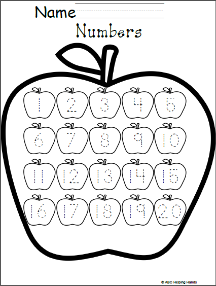 Free Numbers Worksheet Editable Apples Theme Kindergarten Math