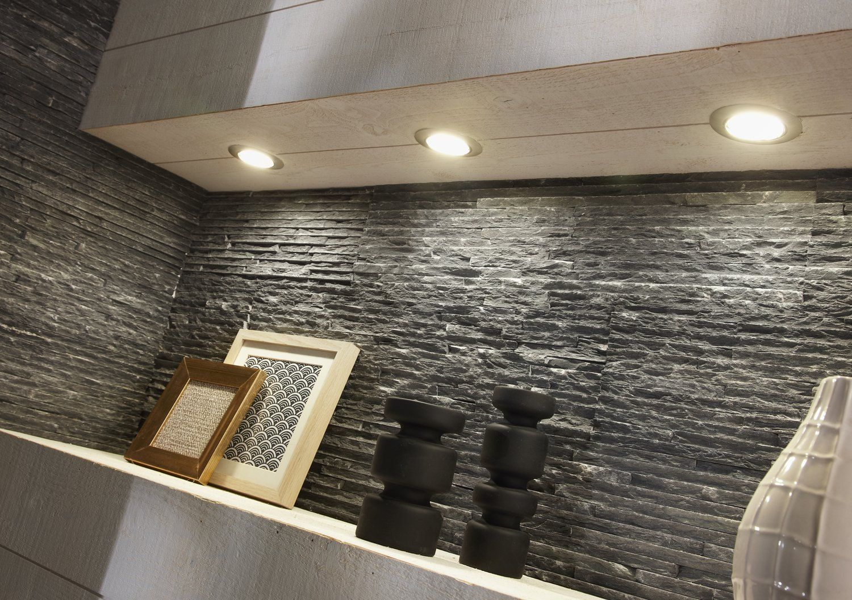 Plaquette de parement pierre naturelle noir Ardoise striée ...