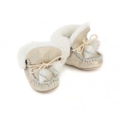 GALLUCCI  Baby Fur-lined Slippers - Gold