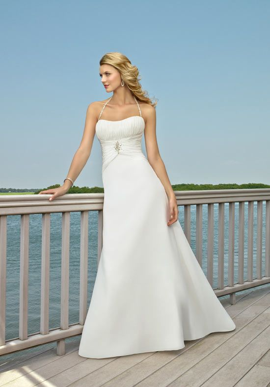 A-Line Floor Length Attached Chiffon Wedding Dress Style 6504 ...