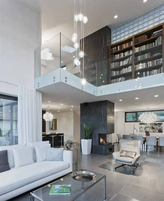 Schon Moderne Wohnung Wohnzimmer Schwarz Weiß Bibliothek  Bücherregale Glasgeländer ❤️Stil Fabrik❤️