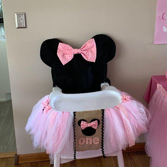 Hot Rosa Minnie Mouse High Chair Tutu & Cover, Minnie Mouse Decoraciones de fiesta de cumpleaños, Minnie mouse Tutu para la silla alta, primer cumpleaños