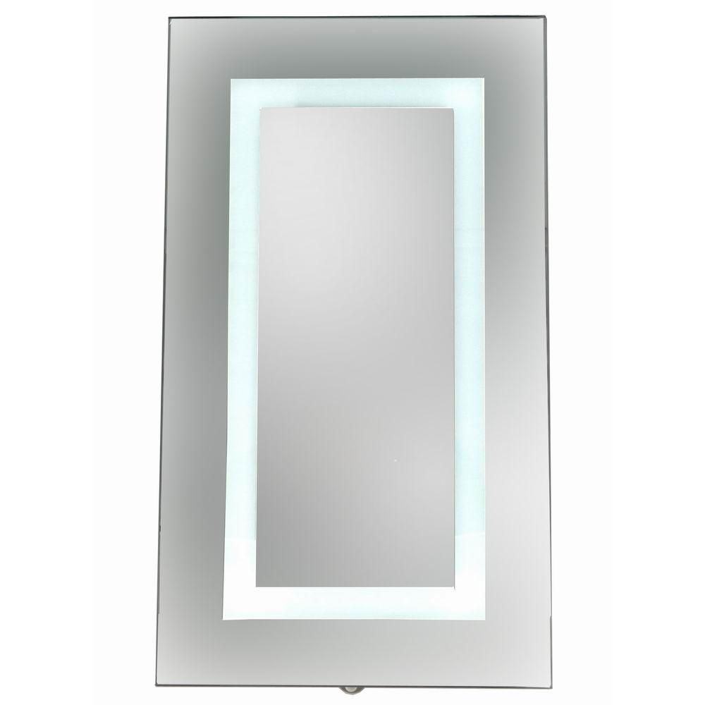 Home Depot Medicine Cabinet With Mirror Prepossessing Glacier Bay 15 Inx 26 Insurfacemount Led Mirror Medicine