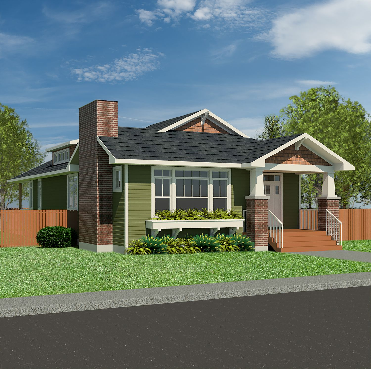 The Craftsman Everett-1740is a 1-storey house featuring: Authenticcraftsmanstyled exterior Covered front porch Vaulted ceiling in living room Bright kitchen withraised ceiling and clerestory windows Private master suite with ensuite and walk-in closet Main floorlaundry 3 bedrooms, 2 baths