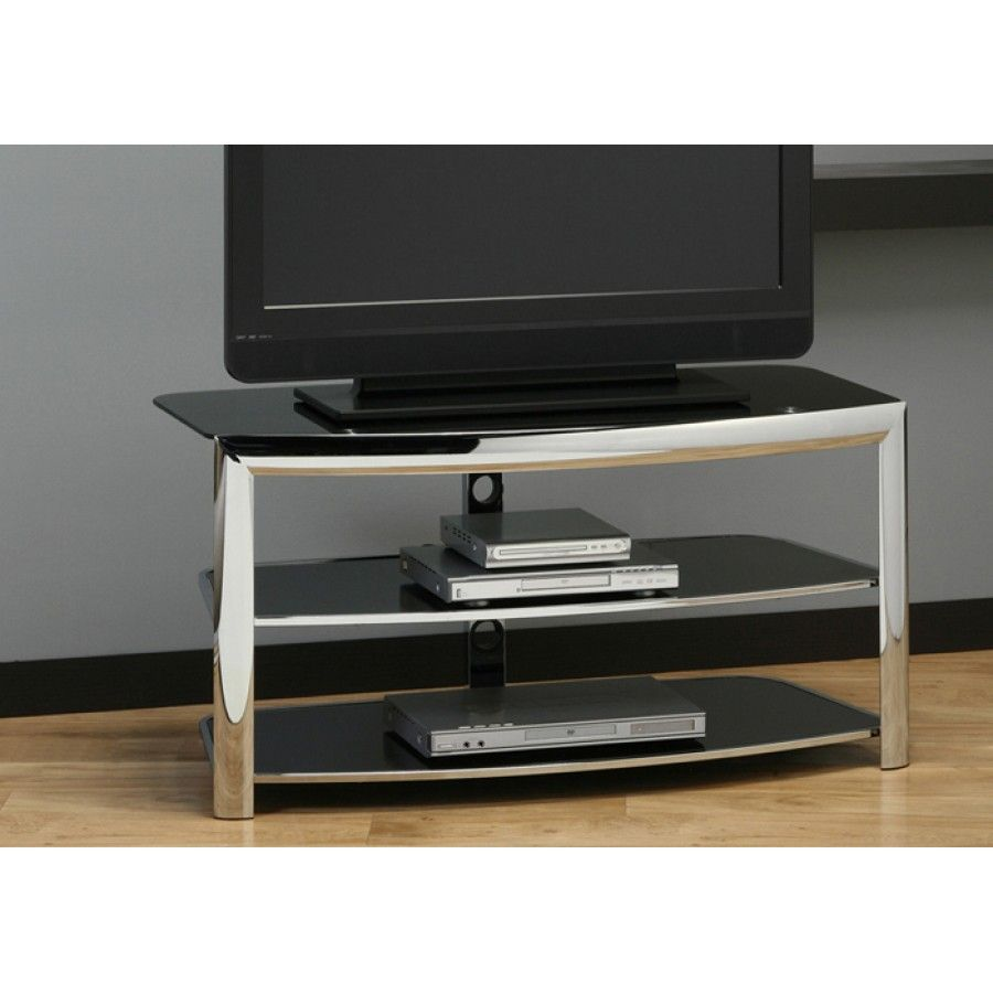 Meuble Tv Metal Chrome Vitre Noir Trempe Salon Montr Al  # Meuble Tv Suspendu Noir