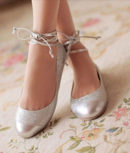 a9d7fe2413 Glitter Shallow Mouth Lace Up Ballet Flat Shoes | 30th wedding ...
