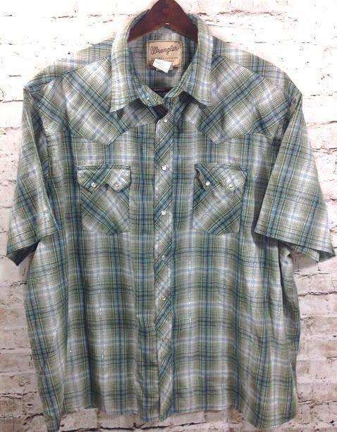 Wrangler Mens 3XL Green Blue Plaid Western Cowboy Pearl Snap Shirt Casual SS GUC #Wrangler #Western