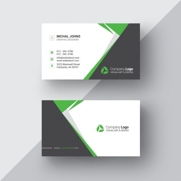 Black and white business card with green details Free Psd Free - visiting cards