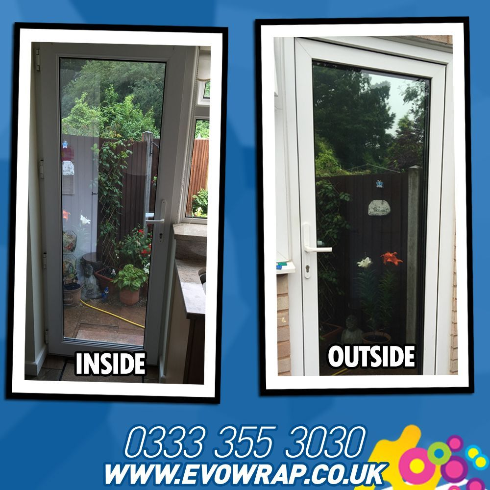 One Way Window Film Installed Onto A Door To Stop People From Looking In Window Film Privacy Tinted House Windows Window Film Designs