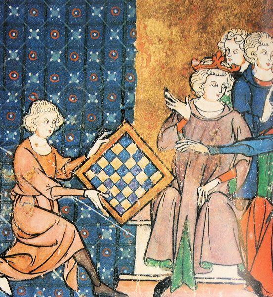 Lancelot Du Lac Fait Porter Un Echiquier Magique A La Reine Guenievre Enluminure Jeux De Guerre Reine Guenievre