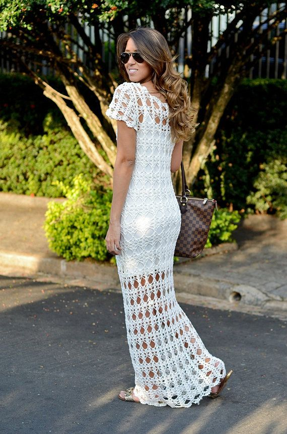 CROCHET FASHION TRENDS exclusive white long crochet dress - made to order