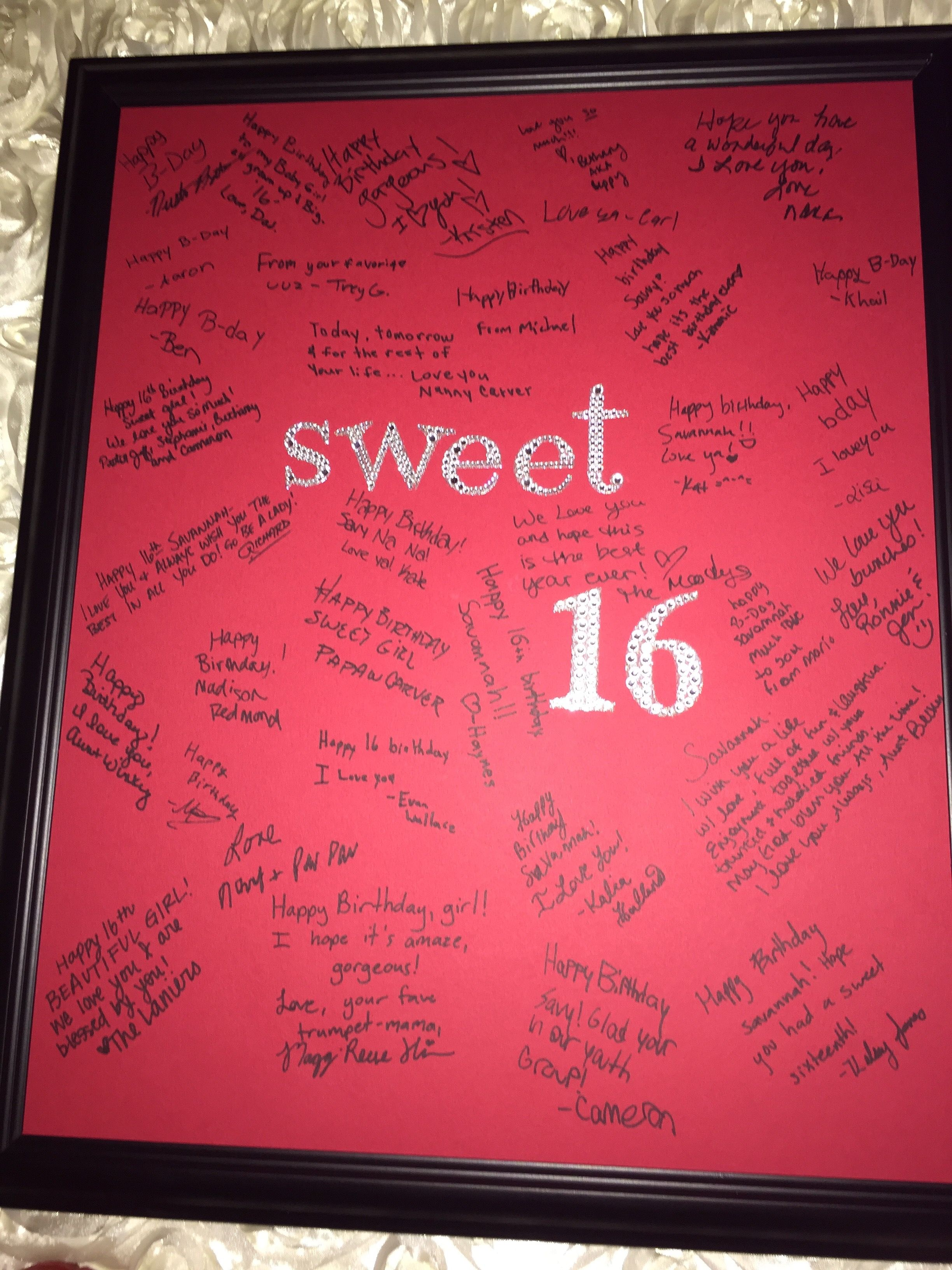 sweet 16 keepsake autograph photo frame made for my nieces birthday party great keepsake