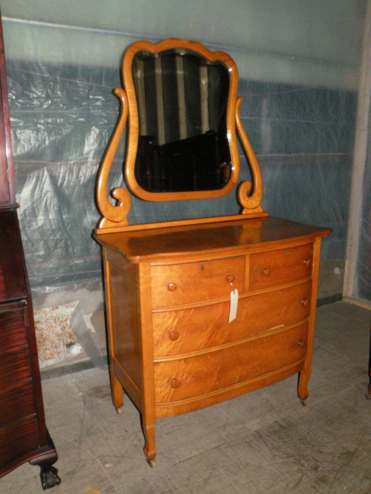 bedroom chair on ebay best chairs recliner antique rare birdseye maple dresser with mirror
