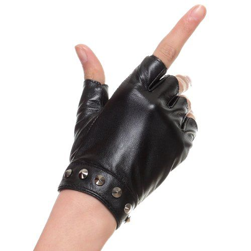 7a83c944b Cyrilus Women lady Driving Fashion leather lampskin fingerless gloves 3  Color CYW7758 (M, Black
