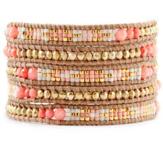 Salmon Coral Mix Bead Wrap Bracelet on Beige Leather