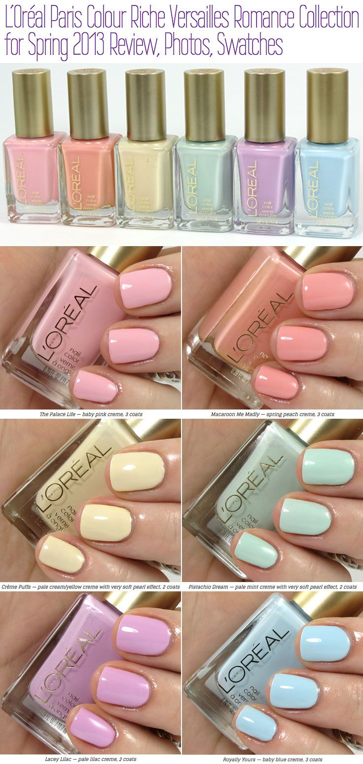 Loreal Colour Riche Versailles Romance Collection Spring 2013 Streak Free Formula 4 Days W O Chipping 5 99 Each Really W Color Riche Loreal Creme Puff