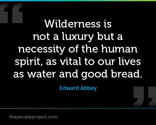 Wilderness is not a luxury but a necessity of the human spirit, as vital to our lives as water and good bread. - Edward Abbey