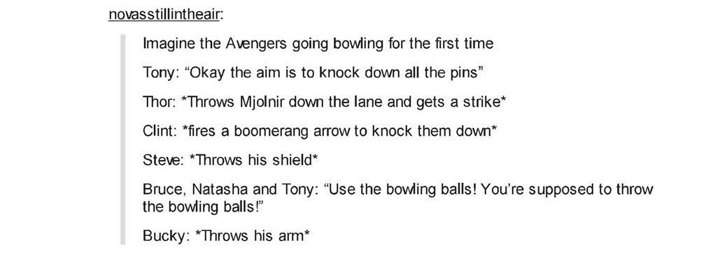 The Avengers go bowling